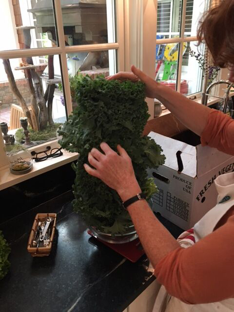Weighing kale