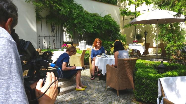 interview in garden
