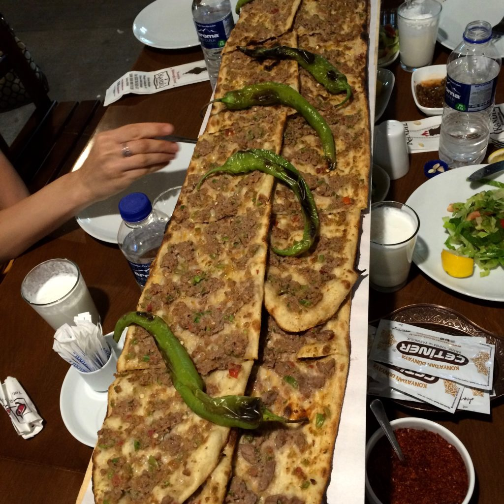 Kandil Etliekmek (traditional pita with meat - Turkish pizza)