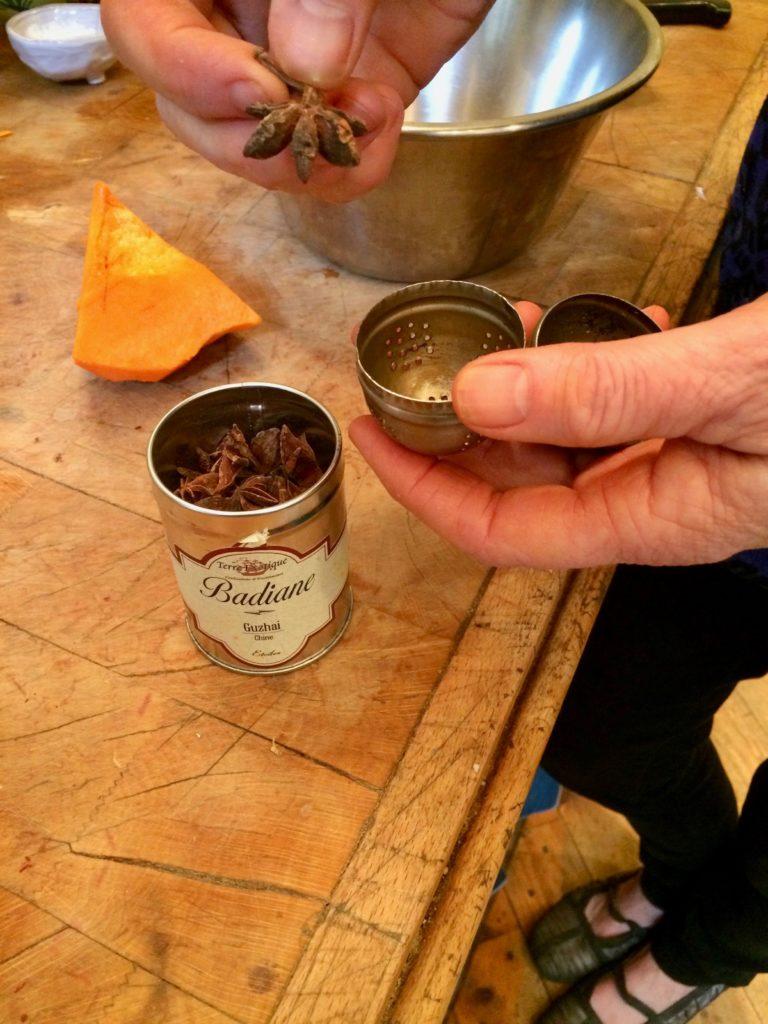 star anise in tea ball
