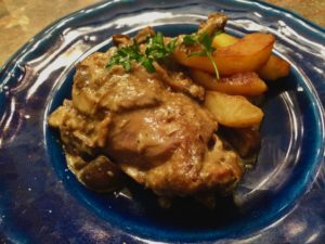 Poulet Vallée d'Auge – Chicken with Calvados, Cider, and Apples