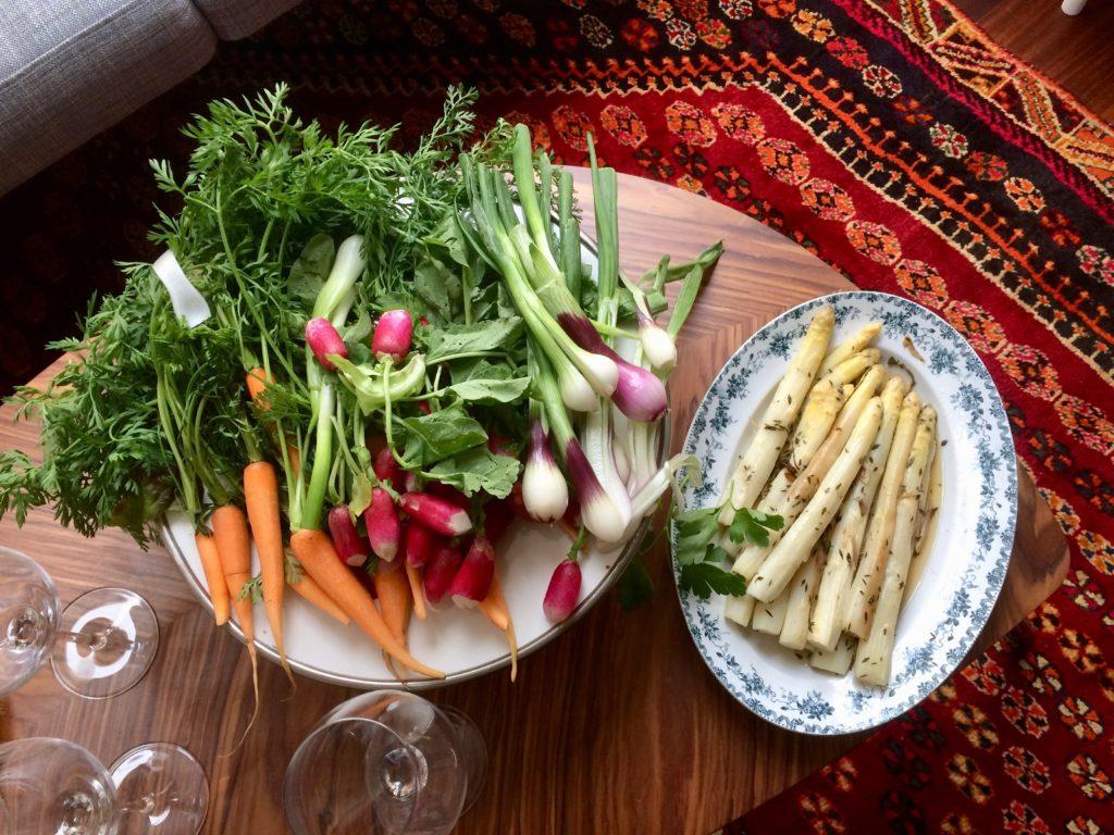 asparagus radishes