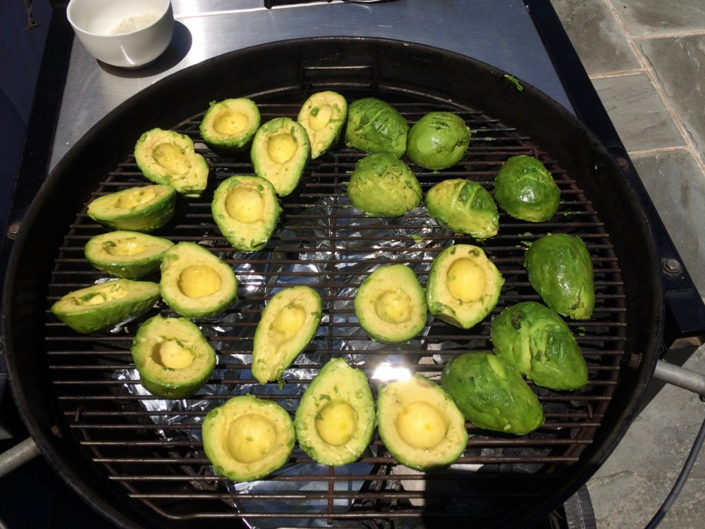 Avocados on the grill