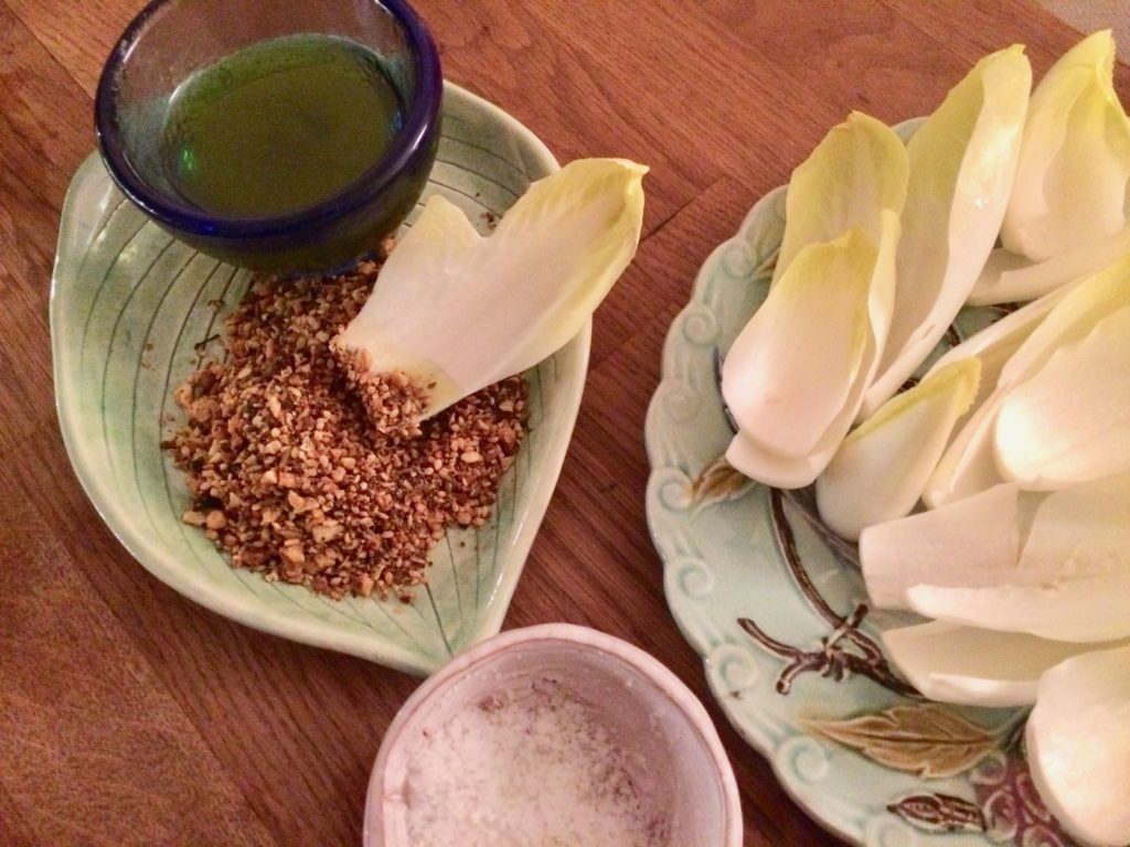 endives, dukkah, hazelnuts, spices